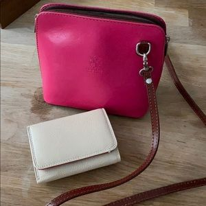Genuine Italian leather crossbody and wallet